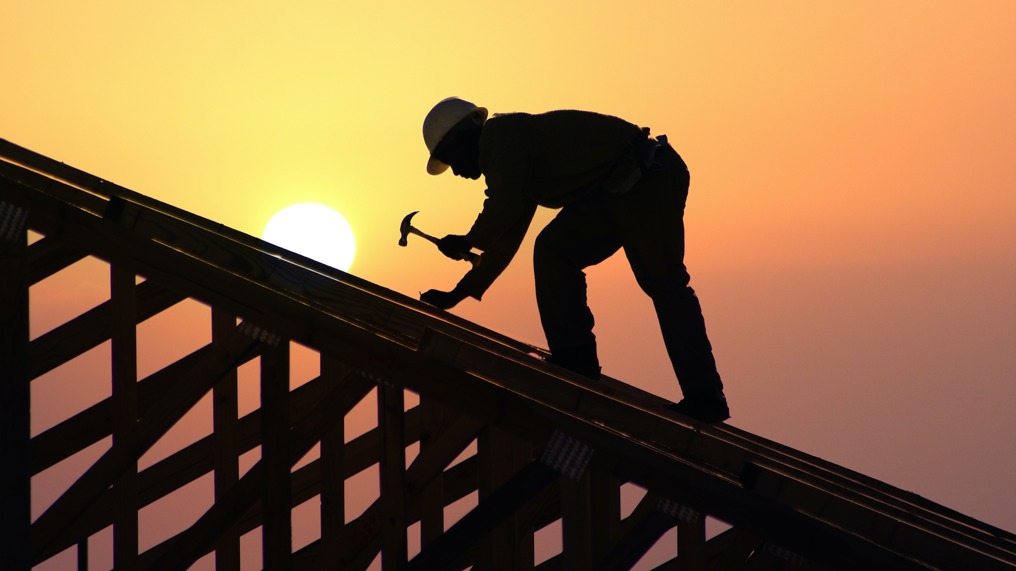 Construction worker on roof